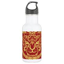 Kazakh style with snow leopard pattern water bottle