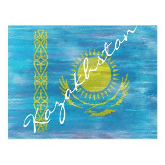 Kazakhstan distressed flag postcard