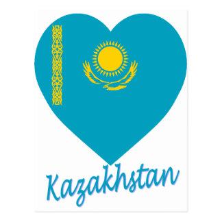 Kazakhstan Flag Heart Postcard