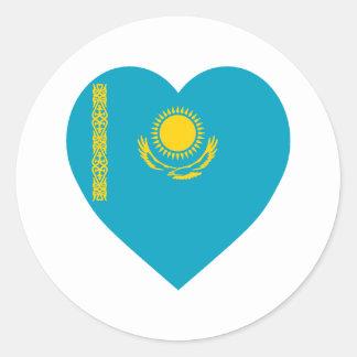 Kazakhstan Flag Heart Classic Round Sticker
