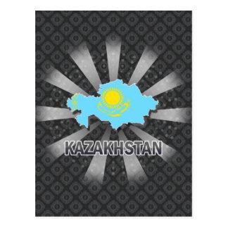 Kazakhstan Flag Map 2.0 Post Cards