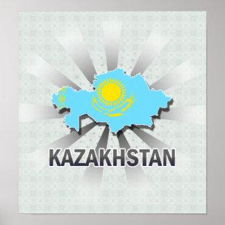 Kazakhstan Flag Map 2.0 Print