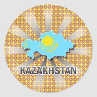 Kazakhstan Flag Map 2.0 Stickers