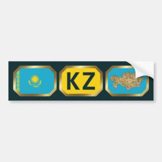 Kazakhstan Flag Map Code Bumper Sticker Car Bumper Sticker