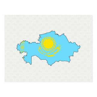 Kazakhstan Flag Map full size Post Card