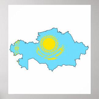 Kazakhstan Flag Map full size Posters