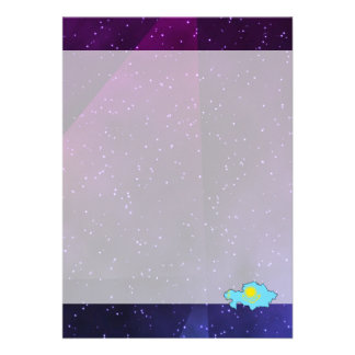 """kazakhstan Flag Map on abstract space background 5"""" X 7"""" Invitation Card"""