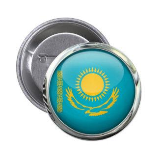 Kazakhstan Flag Round Glass Ball Pinback Button
