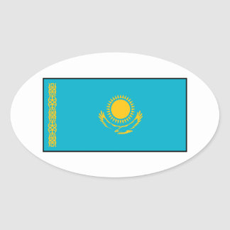 Kazakhstan – Kazakh Flag Oval Sticker