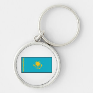 Kazakhstan – Kazakh Flag Silver-Colored Round Keychain
