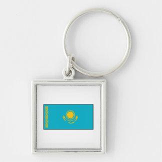 Kazakhstan – Kazakh Flag Silver-Colored Square Keychain