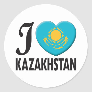 Kazakhstan Love Round Stickers
