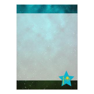 "Kazakhstan Star Design Flag 5"" X 7"" Invitation Card"