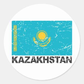 Kazakhstan Vintage Flag Classic Round Sticker
