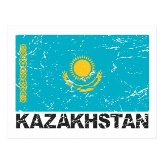 Kazakhstan Vintage Flag Post Card