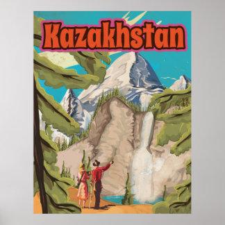 Kazakhstan Vintage Travel Poster