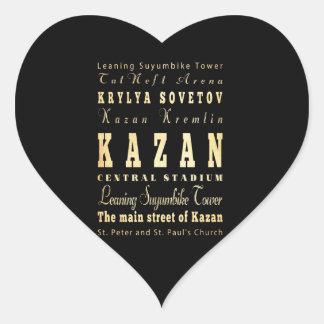 Kazan City of Russia Typography Art Heart Sticker
