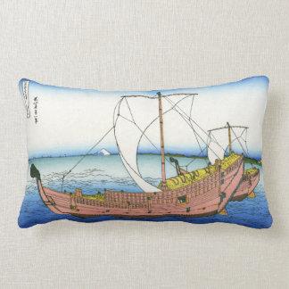 Kazusa Province Sea Route by Katsushika Hokusai Lumbar Pillow