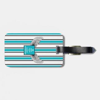Kciafa backward soon with stripes luggage tag