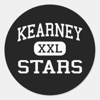 Kearney - estrellas - católico - Kearney Nebraska Etiquetas Redondas