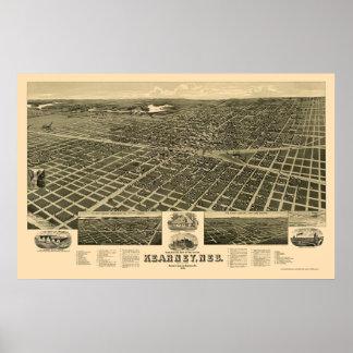 Kearney mapa panorámico del NE - 1889 Posters