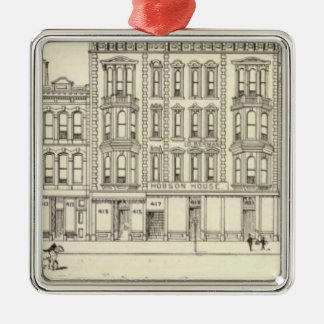 Kearny, Pine and California West Side Square Metal Christmas Ornament