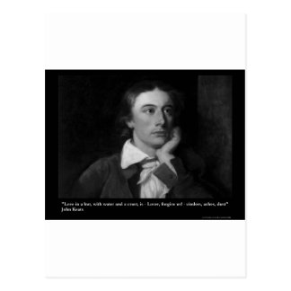 Keats Love Is My Religion Quote Gifts Tees Etc Postcard
