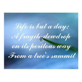 Keats' quote on life postcard
