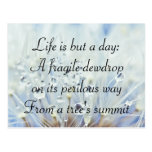 Keats' quote on life wens kaart