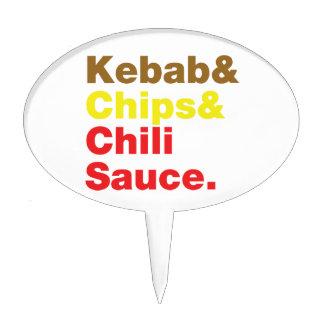 Kebab & Chips & Chili Sauce. Cake Topper