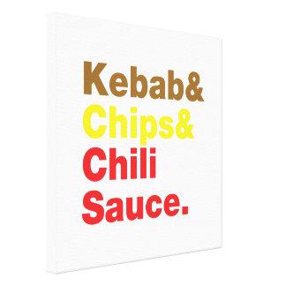 Kebab & Chips & Chili Sauce. Canvas Print