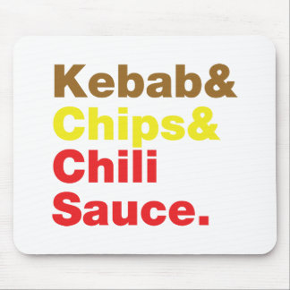 Kebab & Chips & Chili Sauce. Mouse Pad