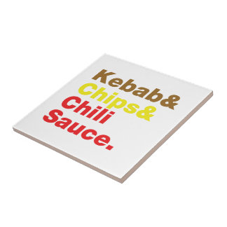 Kebab & Chips & Chili Sauce. Tile