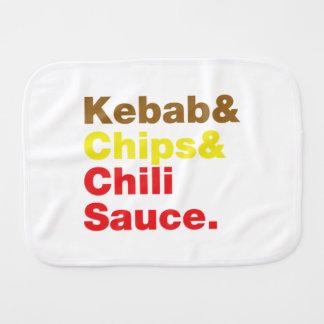 Kebab & Chips & Chili Sauce. Baby Burp Cloth
