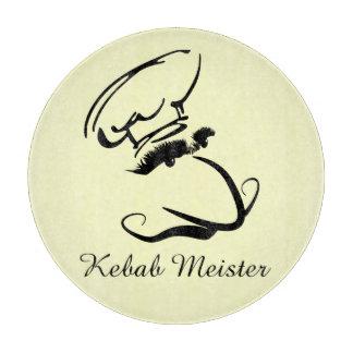 Kebab Meister Cartoon Mono Brow Chef Cutting Board
