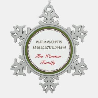 Keeksake formal de saludo de la familia de adorno de peltre en forma de copo de nieve