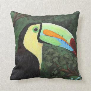 Toucan Birds Figured Straw Decorative Pillow
