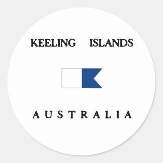 Keeling Islands Alpha Dive Flag Classic Round Sticker