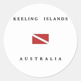 Keeling Islands Australia Scuba Dive Flag Classic Round Sticker