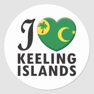 Keeling Islands Love Round Sticker