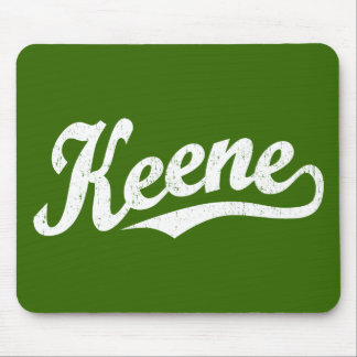 Keene script logo in white distressed mouse pad