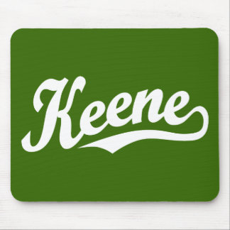 Keene script logo in white mouse pads