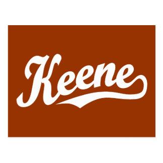Keene script logo in white postcard