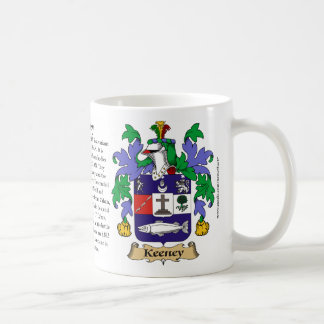 Keeney, the Origin, the Meaning and the Crest Coffee Mug