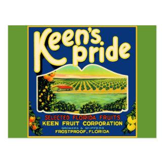 Keen's Pride  Frostproof Florida Label Postcard