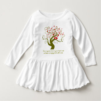 Keep A Green Tree In Your Heart Red Birds & Notes Dress