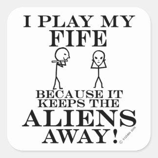 Keep Aliens Away Fife Square Sticker