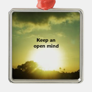 Keep An Open Mind Square Metal Christmas Ornament