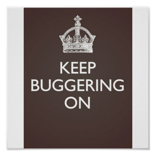 Keep Buggering On - Grey/Brown Poster