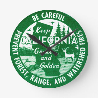 Keep California Green and Golden Round Clocks